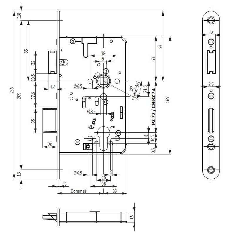 3 tlg Gleitgriff Knebel 1//2 Quergriff T-Griff Drehstange Verlängerung Set G13510